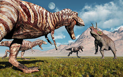 A Pack Of T-rex Dinosaurs Moving Art Print