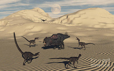 Velociraptor Digital Art - A Pack Of Velociraptors Encircling by Mark Stevenson