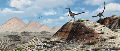 Velociraptor Digital Art - A Pack Of Velociraptors Stalking A Herd by Mark Stevenson