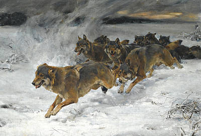 A Pack Of Wolves Art Print by Alfred Wierusz Kowalski