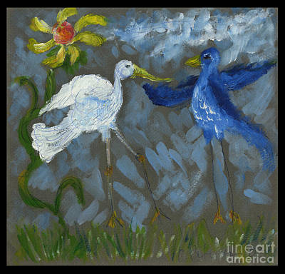 A Pair Of Birds In Paradise  Original by Cathy Peterson