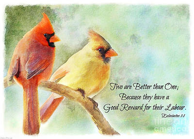Photograph - A Pair Of Cardinals - Digital Paint With Verse I by Debbie Portwood
