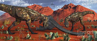A Pair Of Carnotaurus Dinosaurs Ready Print by Mark Stevenson