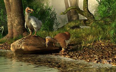 Mauritius Digital Art - A Pair Of Dodo Birds Drinking by Daniel Eskridge