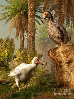 Mauritius Digital Art - A Pair Of Dodo Birds Play A Game by Daniel Eskridge