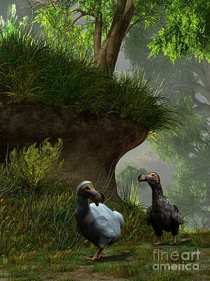 Mauritius Digital Art - A Pair Of Dodo Birds Waddle by Daniel Eskridge