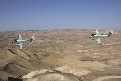Beechcraft Photograph - A Pair Of Israeli Air Force B-200 by Ofer Zidon