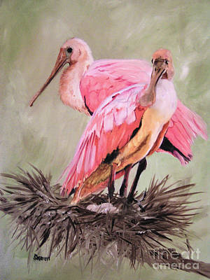 Spoonbill Painting - A Pair Of Roses by Sharon Burger