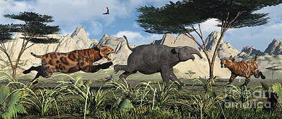 Prehistoric Digital Art - A Pair Of Sabre-toothed Tigers Chasing by Mark Stevenson
