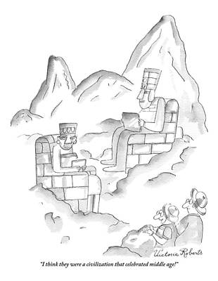 Mayan Drawing - A Pair Of Sightseers Admire Ancient Statues That by Victoria Roberts