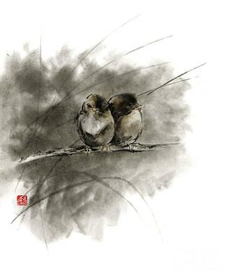 A Pair Of Sparrows Two Birds Brown Bird Original Ink Painting Artwork Print by Mariusz Szmerdt