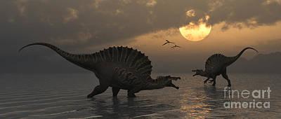 Two Tailed Digital Art - A Pair Of Spinosaurus Dinosaurs Fishing by Mark Stevenson