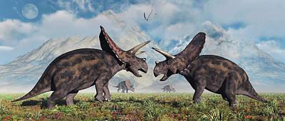 A Pair Of Torosaurus Dinosaurs Involved Art Print