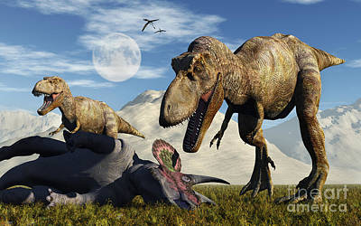 Triassic Digital Art - A Pair Of Tyrannosaurus Rex Dinosaurs by Mark Stevenson