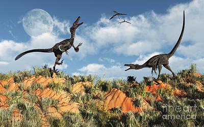 Impressionist Landscapes - A Pair Of Velociraptors Involved by Mark Stevenson