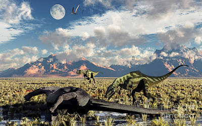 Anger Digital Art - A Pair Of Yangchuanosaurus About To Eat by Mark Stevenson