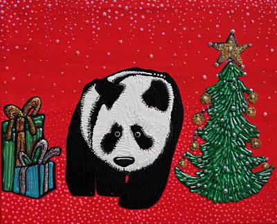 Panda Bear Painting - A Panda For Christmas by Laura Barbosa