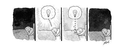 Sleeping Drawing - A Panel Depicts A Sleeping Man Dreaming by Tom Toro