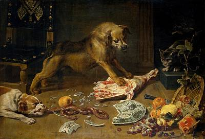 Frans Snyders Painting - A Pantry by Frans Snyders