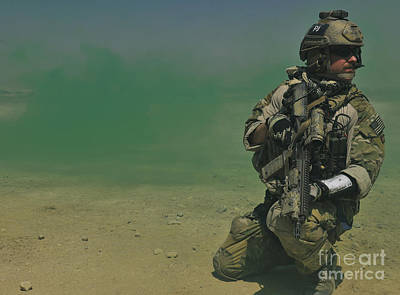 A Pararescueman Secures A Sector Art Print by Stocktrek Images