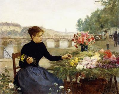 Choosing Painting - A Parisian Flower Market by Victor Gabriel Gilbert