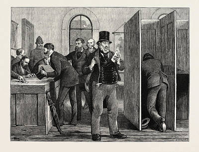 Voted Images Drawing - A Parliamentary Election The Nineteenth Century Voting by English School