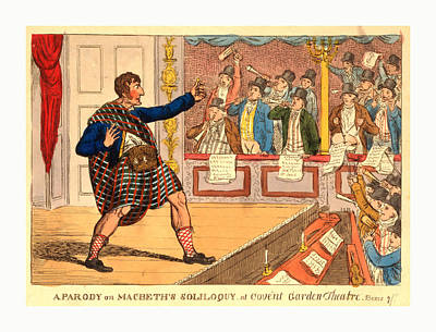 Parody Drawing - A Parody On Macbeths Soliloquy At Covent Garden Theatre by English School