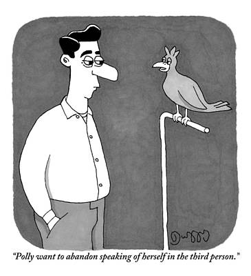J C Duffy Drawing - A Parrot Talks To Its Owner by J.C.  Duffy