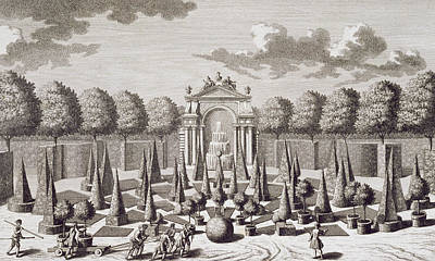 Palace Drawing - A Parterre With Orange Trees In The Garden Of The Lichtenstein Palace by Salomon Kleiner