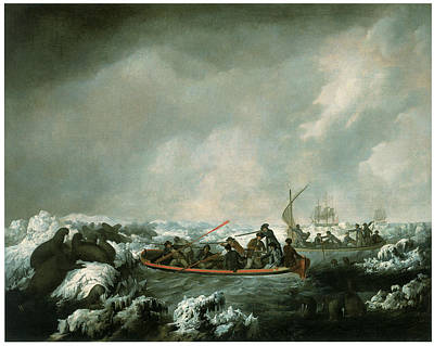 Resolution Painting - A Party From Hms Resolution Shhting Sea Horses by John Webber