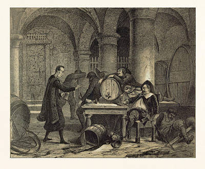 Wine Cellar Drawing - A Party In The Nineteenth Century In The Wine Cellar by English School
