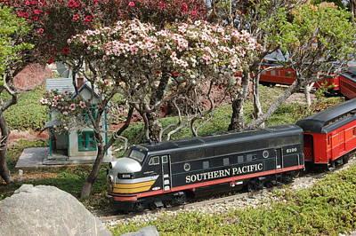 A Passenger Train Passes By Farm House Art Print by Linda Brody