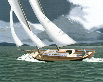 Sailboat Painting - A Passing Squall by Gary Giacomelli