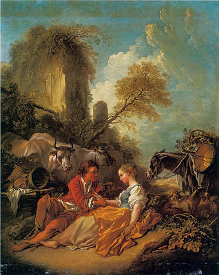 Shephard Painting - A Pastoral Landscape With A Shepherd And Shepherdess by Francois Boucher