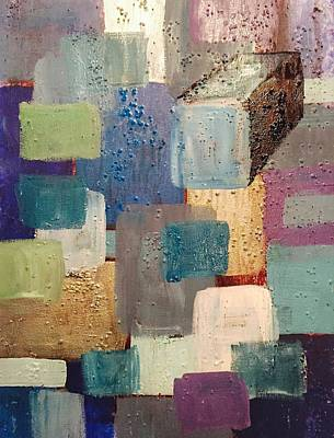 Multimedia Painting - A Patchwork Of Blues by Edward Paul
