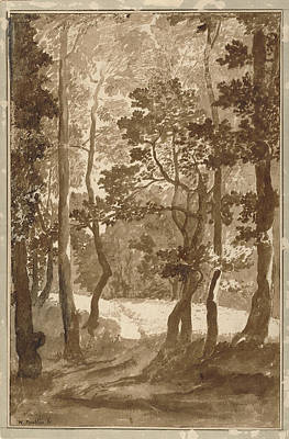 Clearing Drawing - A Path Leading Into A Forest Clearing Nicolas Poussin by Litz Collection