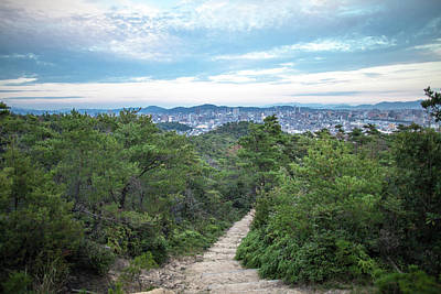 Okayama Prefecture Photograph - A Path Leading Up A Mountain With City by Trevor Williams