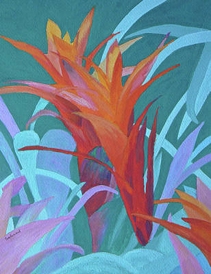 Art Print featuring the painting A Pattern Of Bromeliads by Margaret Saheed