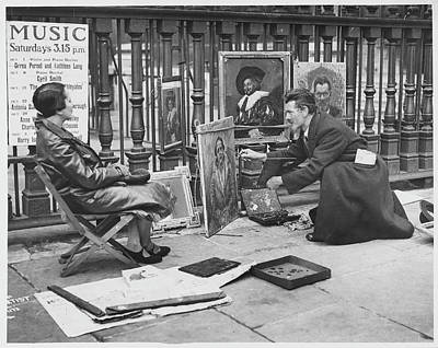 Other Painting - A Pavement Artist At St by Mary Evans Picture Library