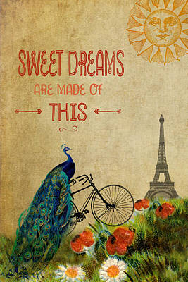 Digital Art - A Peacock In Paris Whimsical Vintage Collage by Peggy Collins