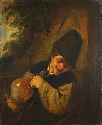 A Peasant Holding A Jug And A Pipe Art Print by Adriaen van Ostade