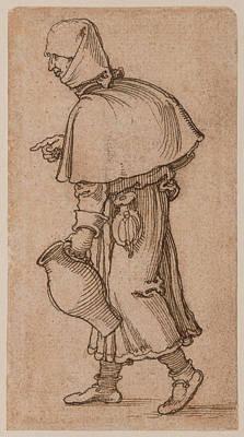 A Peasant Woman Carrying A Jug Sebald Beham Art Print