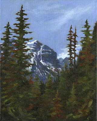 Ice Climbing Painting - A Peek Through The Trees by Grant Lounsbury