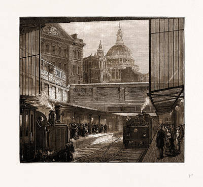 London Tube Drawing - A Peep At St. Pauls And The Times Office From Underground by Litz Collection