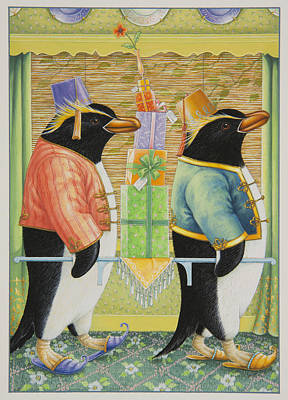 Birthday Present Painting - A Penguin Birthday Surprise by Lynn Bywaters