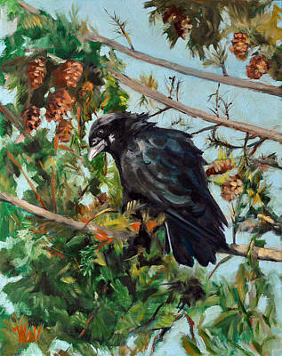 Painting - A Perch For Nevermore by Pattie Wall