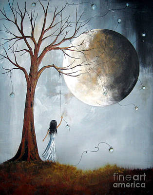 Big Moon Painting - Serene Art Print By Shawna Erback by Shawna Erback