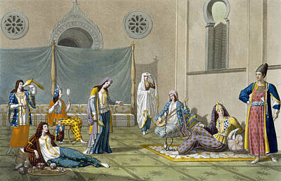 Lute Drawing - A Persian Harem, From Le Costume Ancien by G. Bramati