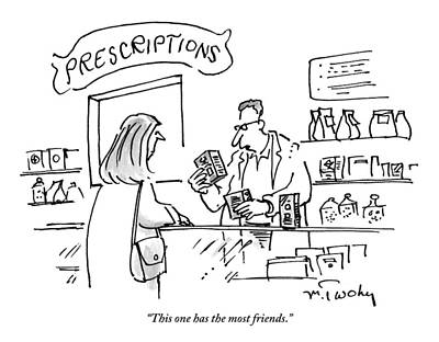 Friends Drawing - A Pharmacist Hands A Drug To A Woman by Mike Twohy