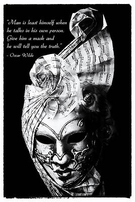 Hiding Photograph - A Picture Of A Venitian Mask Accompanied By An Oscar Wilde Quote by Nila Newsom